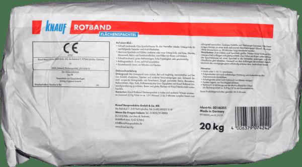 20kg Knauf Rotband Flächenspachtel Weiss