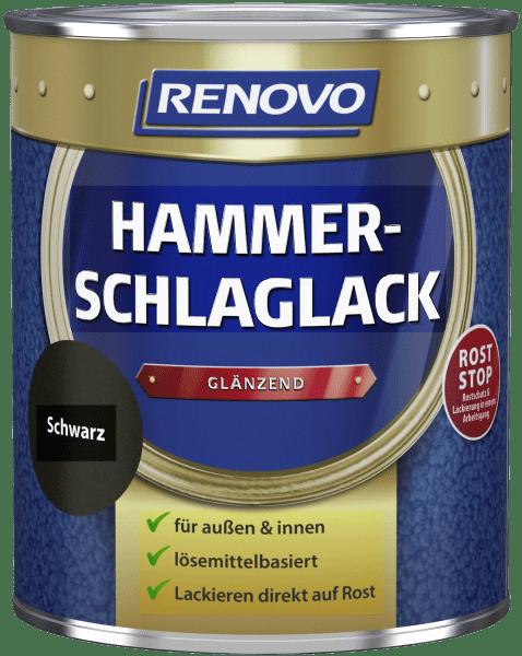 250ml Renovo Hammerschlaglack glänzend schwarz