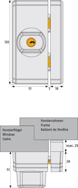 ABUS Fensterschloß FTS96 weiss