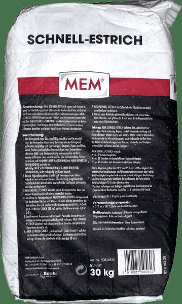 30Kg MEM Schnell-Estrich Heizestrich