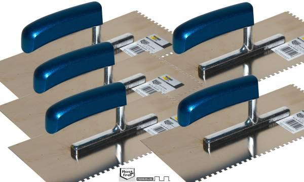 5xGlättkelle gezahnt 6x6mm, 28x13cm, Edelstahl